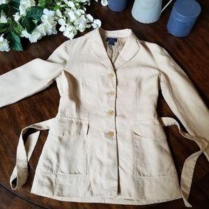 BROOKS BROTHERS 100% Linen Blazer Jacket Belted